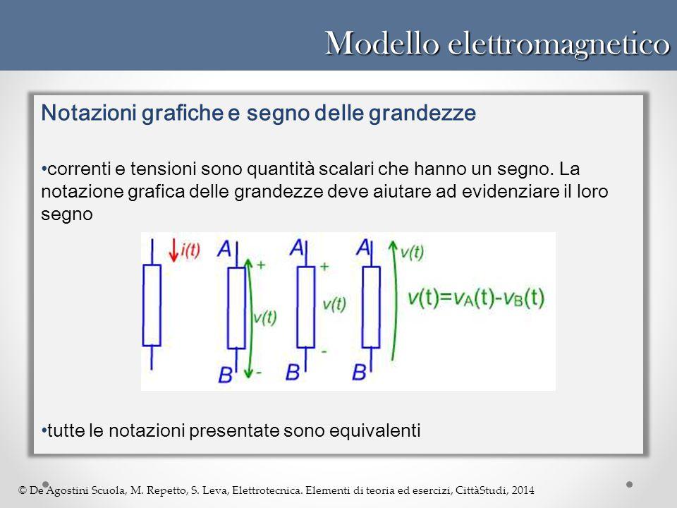 © De Agostini Scuola, M. Repetto, S. Leva, Elettrotecnica. Elementi di teoria ed esercizi, CittàStudi, 2014 Modello elettromagnetico Notazioni grafich