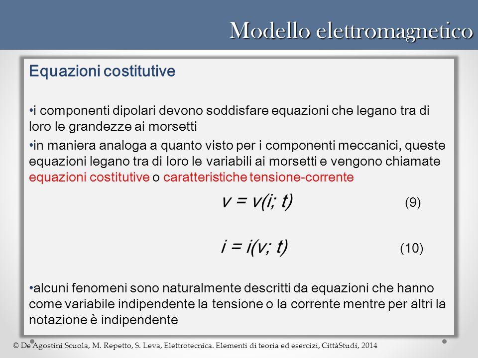 © De Agostini Scuola, M. Repetto, S. Leva, Elettrotecnica. Elementi di teoria ed esercizi, CittàStudi, 2014 Modello elettromagnetico Equazioni costitu