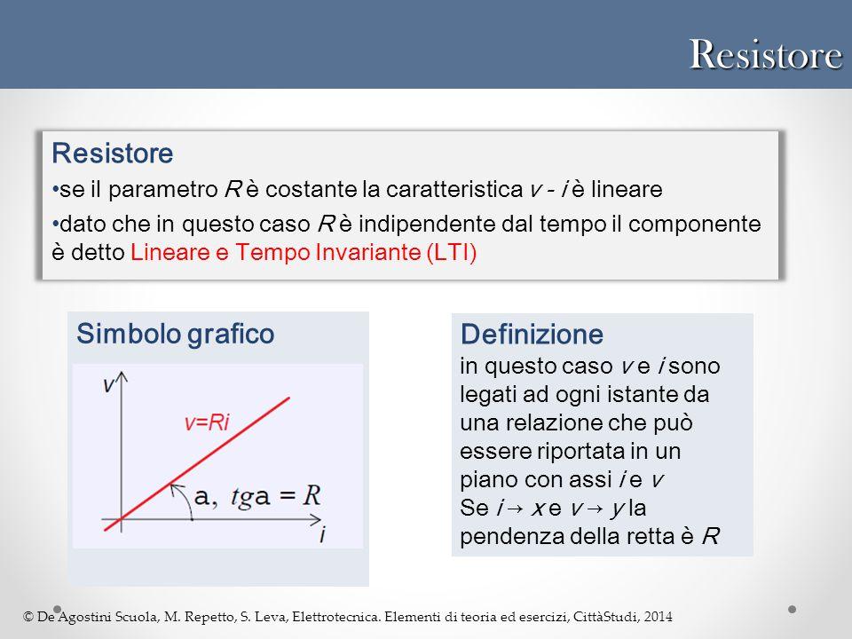 © De Agostini Scuola, M. Repetto, S. Leva, Elettrotecnica. Elementi di teoria ed esercizi, CittàStudi, 2014Resistore Resistore se il parametro R è cos