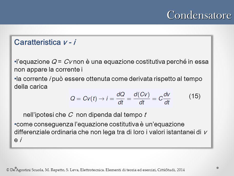 © De Agostini Scuola, M. Repetto, S. Leva, Elettrotecnica. Elementi di teoria ed esercizi, CittàStudi, 2014Condensatore Caratteristica v - i l'equazio