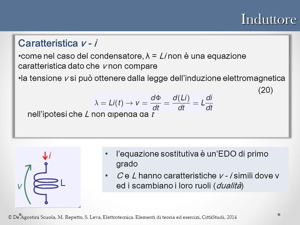 © De Agostini Scuola, M. Repetto, S. Leva, Elettrotecnica. Elementi di teoria ed esercizi, CittàStudi, 2014Induttore Caratteristica v - i come nel cas
