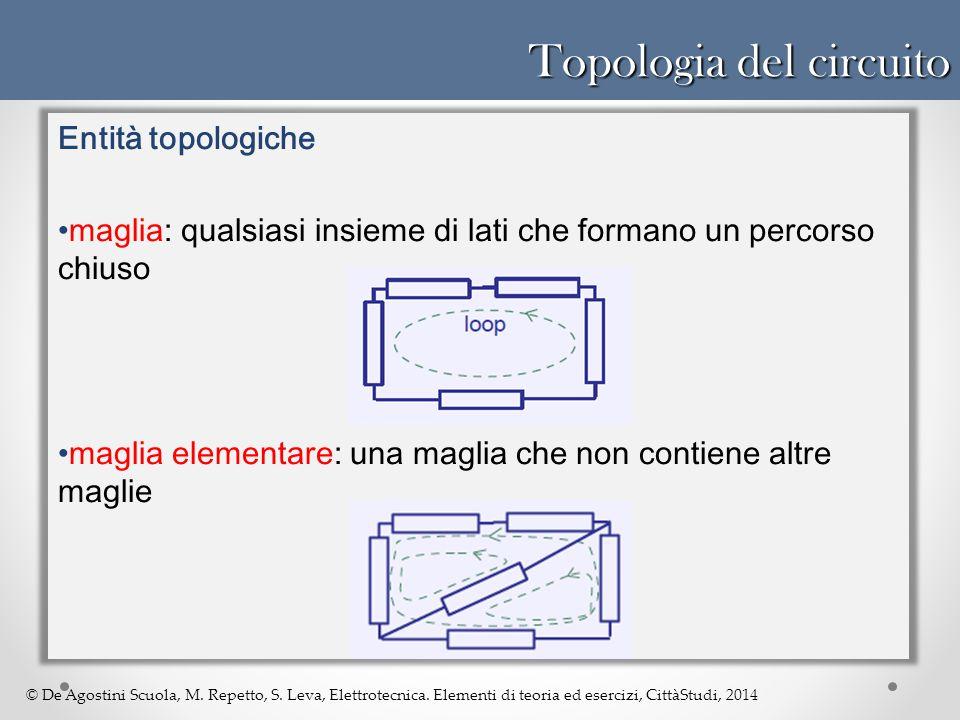 © De Agostini Scuola, M. Repetto, S. Leva, Elettrotecnica. Elementi di teoria ed esercizi, CittàStudi, 2014 Topologia del circuito Entità topologiche