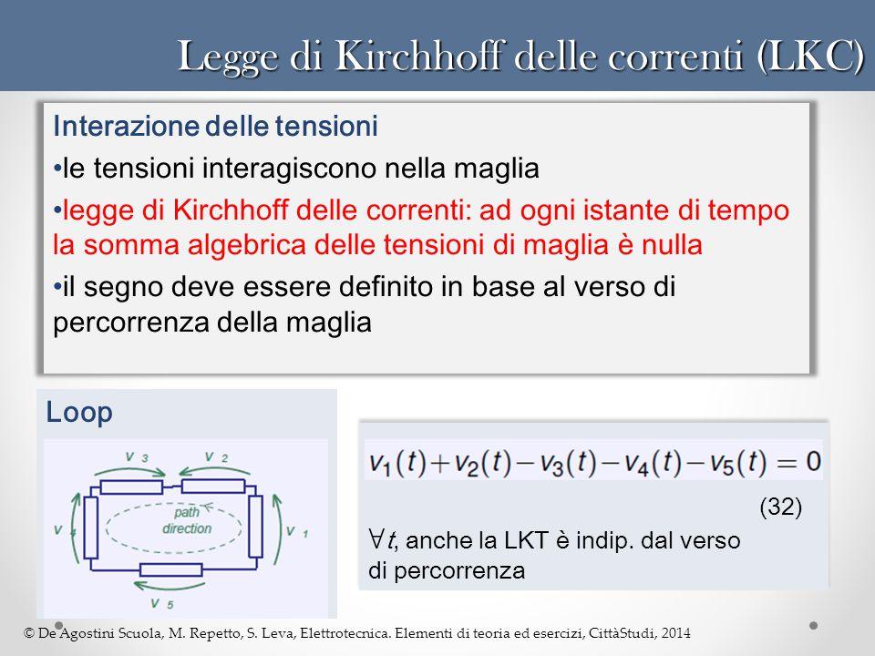 © De Agostini Scuola, M. Repetto, S. Leva, Elettrotecnica. Elementi di teoria ed esercizi, CittàStudi, 2014 Legge di Kirchhoff delle correnti (LKC) In