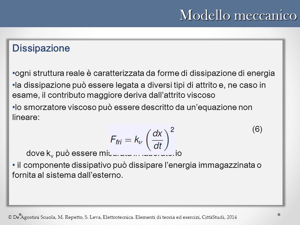© De Agostini Scuola, M. Repetto, S. Leva, Elettrotecnica. Elementi di teoria ed esercizi, CittàStudi, 2014 Modello meccanico Dissipazione ogni strutt