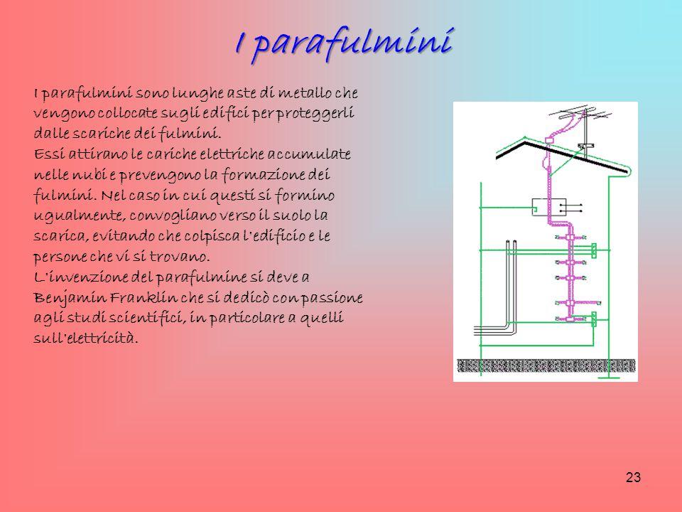 I parafulmini sono lunghe aste di metallo che vengono collocate sugli edifici per proteggerli dalle scariche dei fulmini. Essi attirano le cariche ele