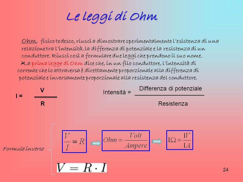 Le leggi di Ohm Ohm, fisico tedesco, riuscì a dimostrare sperimentalmente l'esistenza di una relazione tra l'intensità, la differenza di potenziale e