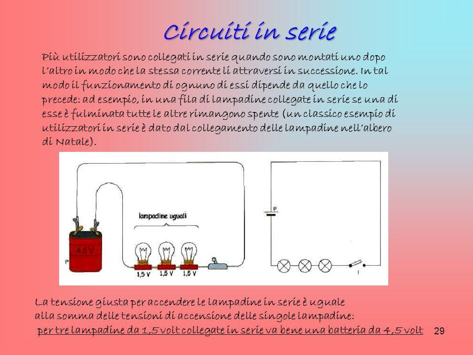 Più utilizzatori sono collegati in serie quando sono montati uno dopo l'altro in modo che la stessa corrente li attraversi in successione. In tal modo