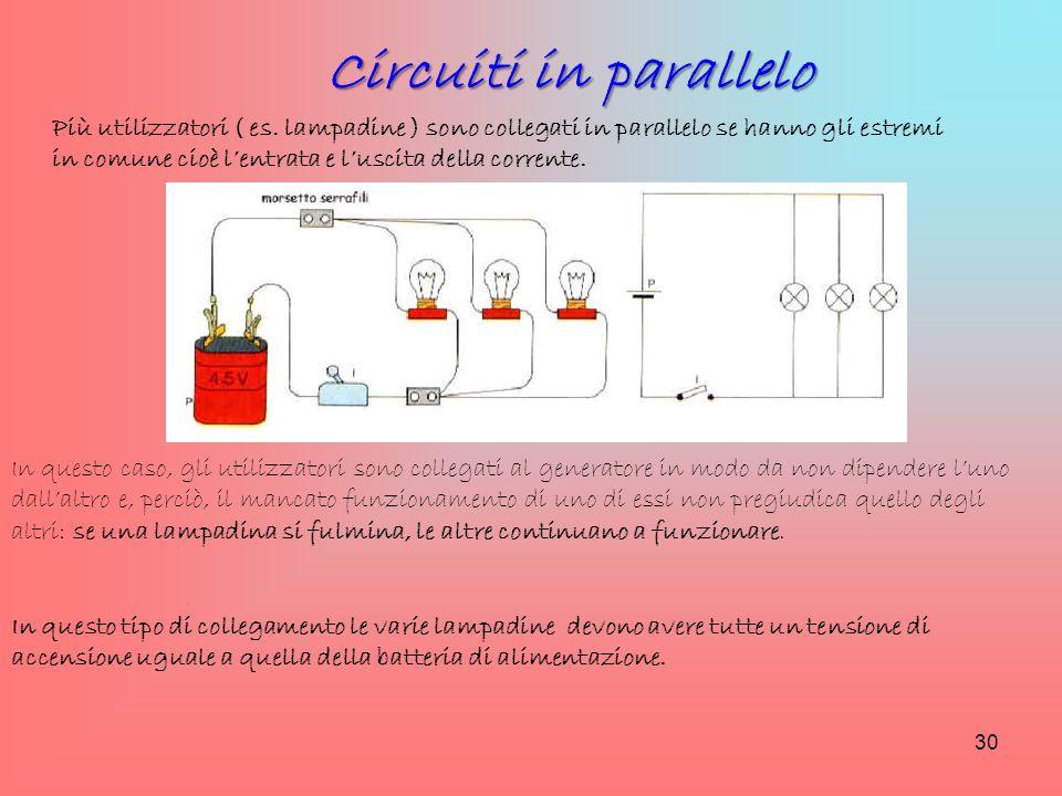 Più utilizzatori ( es. lampadine ) sono collegati in parallelo se hanno gli estremi in comune cioè l'entrata e l'uscita della corrente. Circuiti in pa