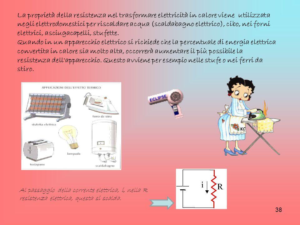 La proprietà della resistenza nel trasformare elettricità in calore viene utilizzata negli elettrodomestici per riscaldare acqua (scaldabagno elettric