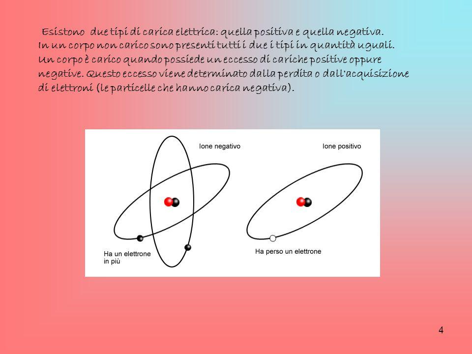 Esistono due tipi di carica elettrica: quella positiva e quella negativa. In un corpo non carico sono presenti tutti i due i tipi in quantità uguali.