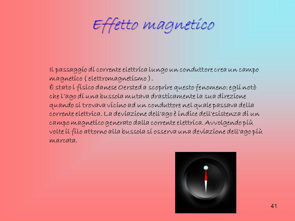 Il passaggio di corrente elettrica lungo un conduttore crea un campo magnetico ( elettromagnetismo ). È stato i fisico danese Oersted a scoprire quest