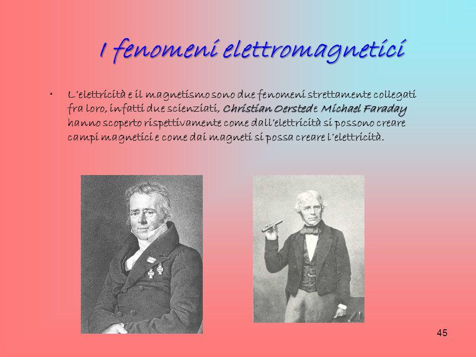 I fenomeni elettromagnetici Christian Oersted Michael FaradayL'elettricità e il magnetismo sono due fenomeni strettamente collegati fra loro, infatti