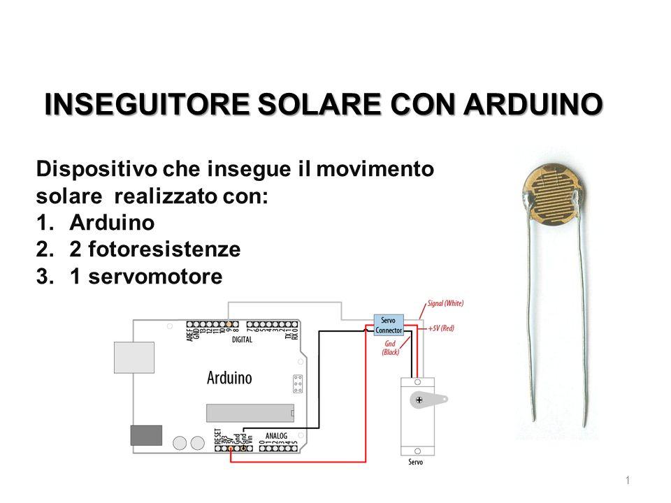 INSEGUITORE SOLARE CON ARDUINO 1 Dispositivo che insegue il movimento solare realizzato con: 1.Arduino 2.2 fotoresistenze 3.1 servomotore