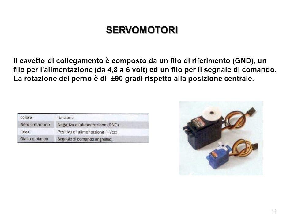 SERVOMOTORI 11 Il cavetto di collegamento è composto da un filo di riferimento (GND), un filo per l'alimentazione (da 4,8 a 6 volt) ed un filo per il
