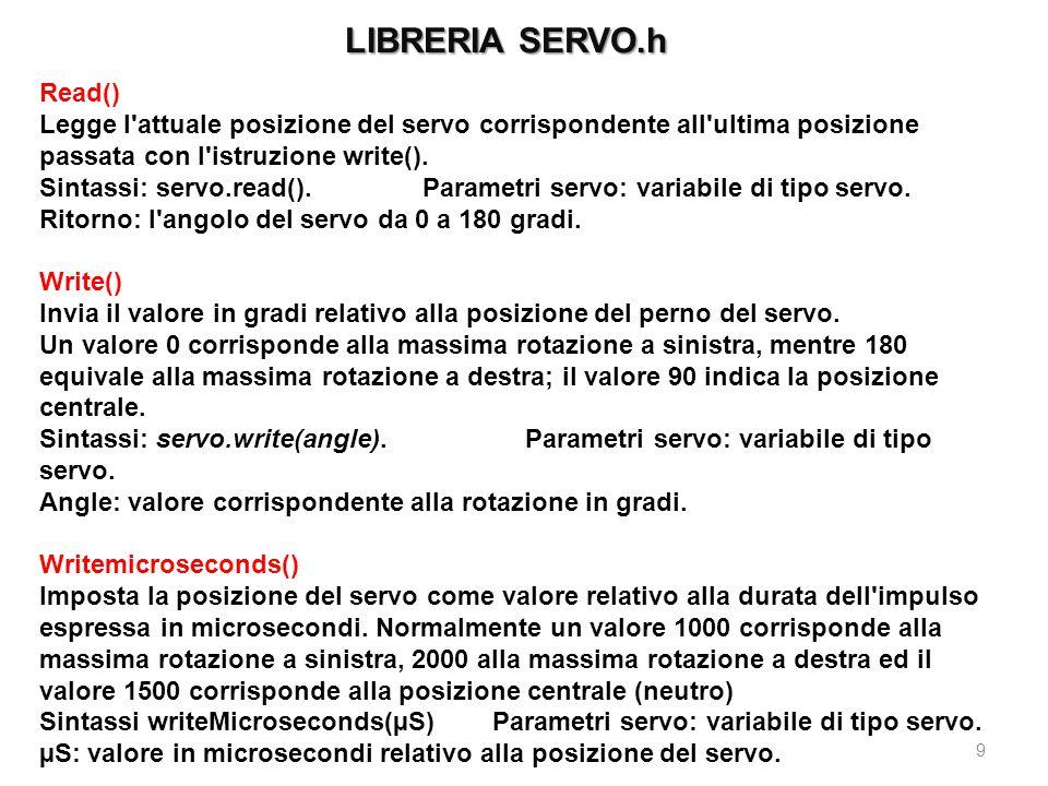 LIBRERIA SERVO.h 9 Read() Legge l'attuale posizione del servo corrispondente all'ultima posizione passata con l'istruzione write(). Sintassi: servo.re