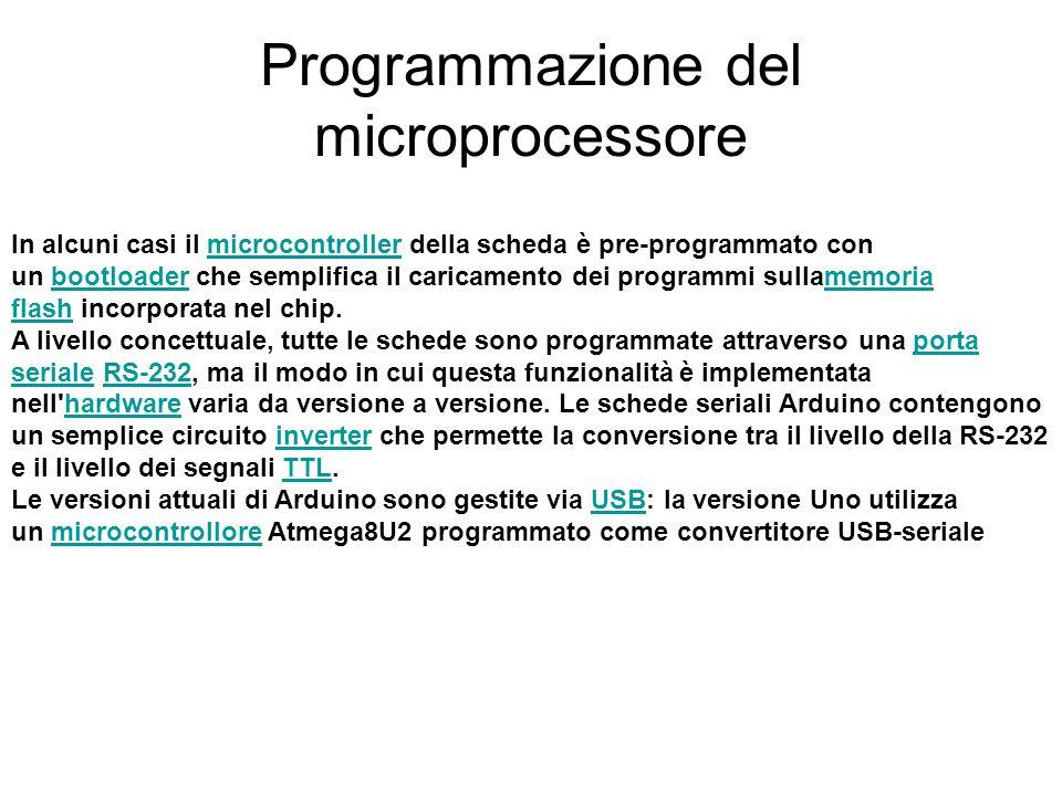 Programmazione del microprocessore In alcuni casi il microcontroller della scheda è pre-programmato con un bootloader che semplifica il caricamento de