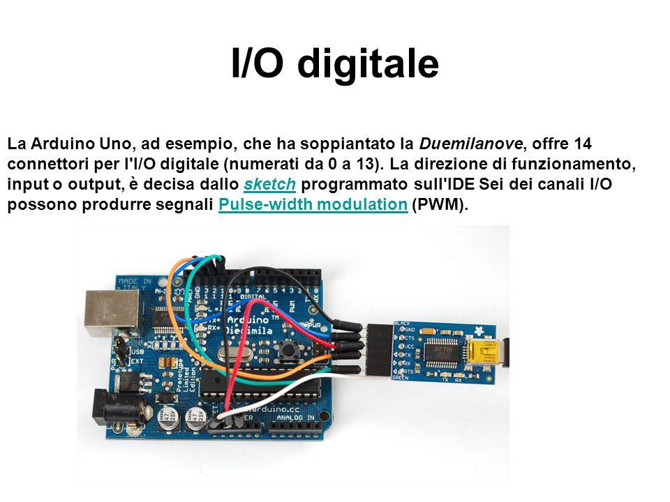 I/O digitale La Arduino Uno, ad esempio, che ha soppiantato la Duemilanove, offre 14 connettori per l'I/O digitale (numerati da 0 a 13). La direzione