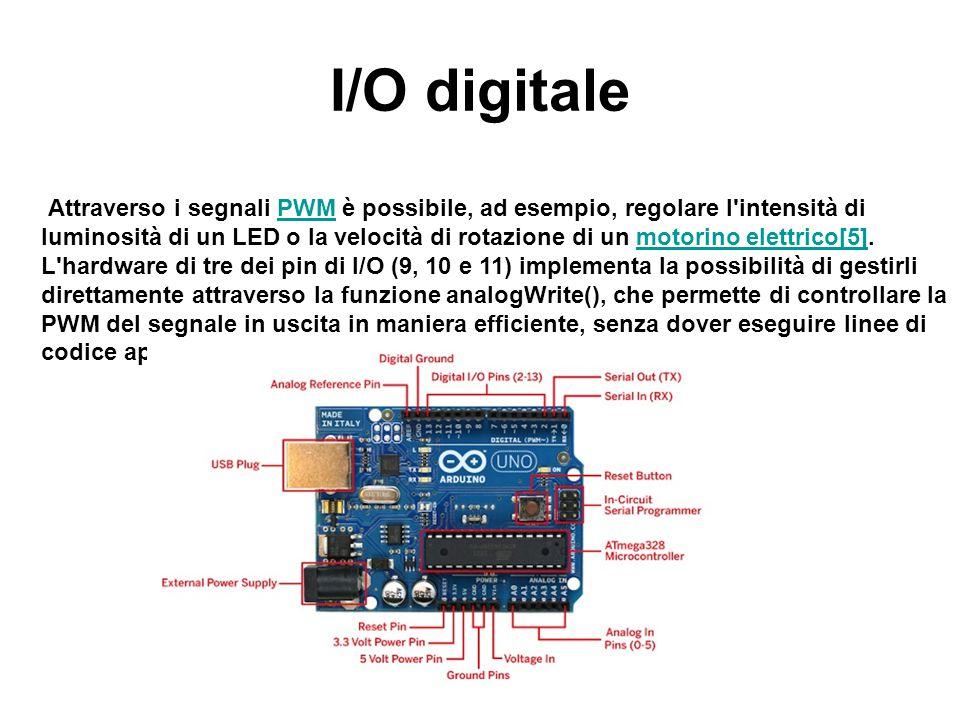 I/O digitale Attraverso i segnali PWM è possibile, ad esempio, regolare l'intensità di luminosità di un LED o la velocità di rotazione di un motorino