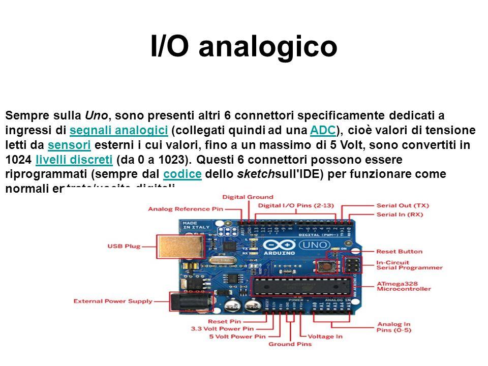 I/O analogico Sempre sulla Uno, sono presenti altri 6 connettori specificamente dedicati a ingressi di segnali analogici (collegati quindi ad una ADC)