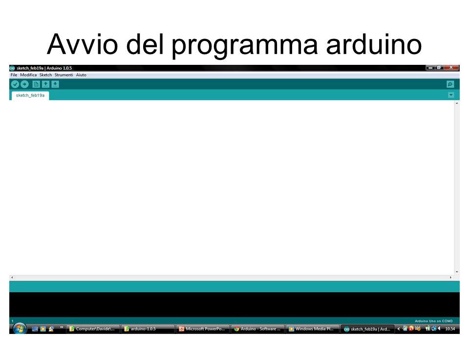Avvio del programma arduino
