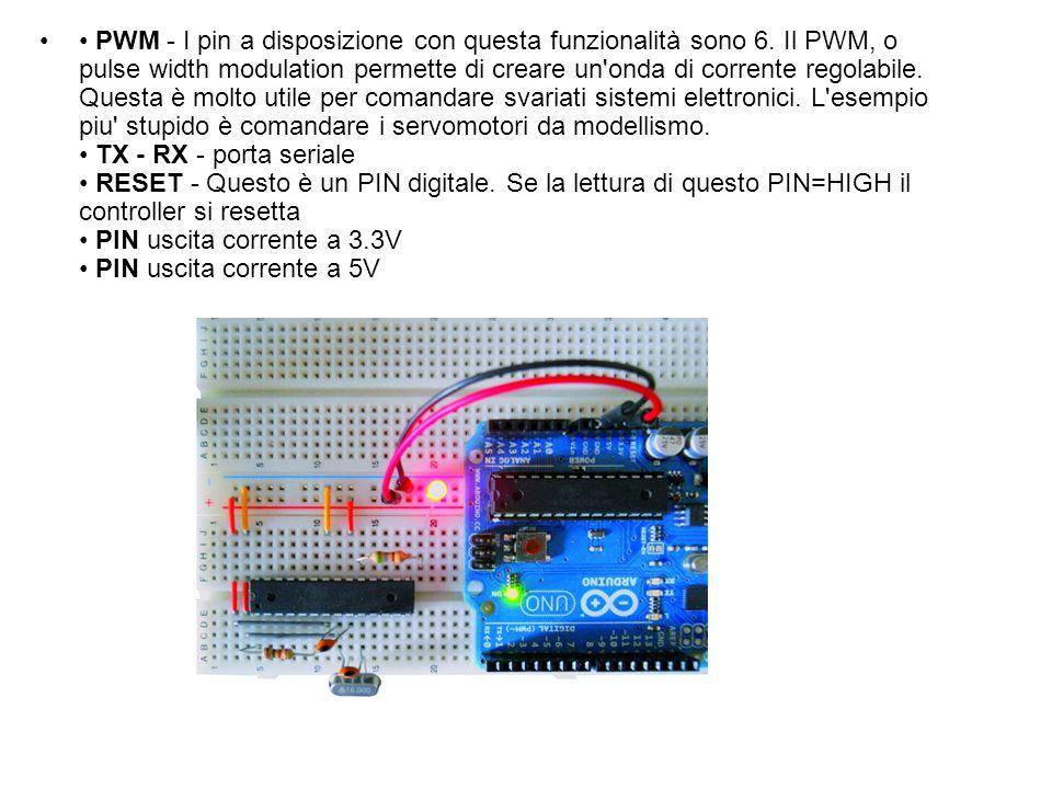 PWM - I pin a disposizione con questa funzionalità sono 6. Il PWM, o pulse width modulation permette di creare un'onda di corrente regolabile. Questa