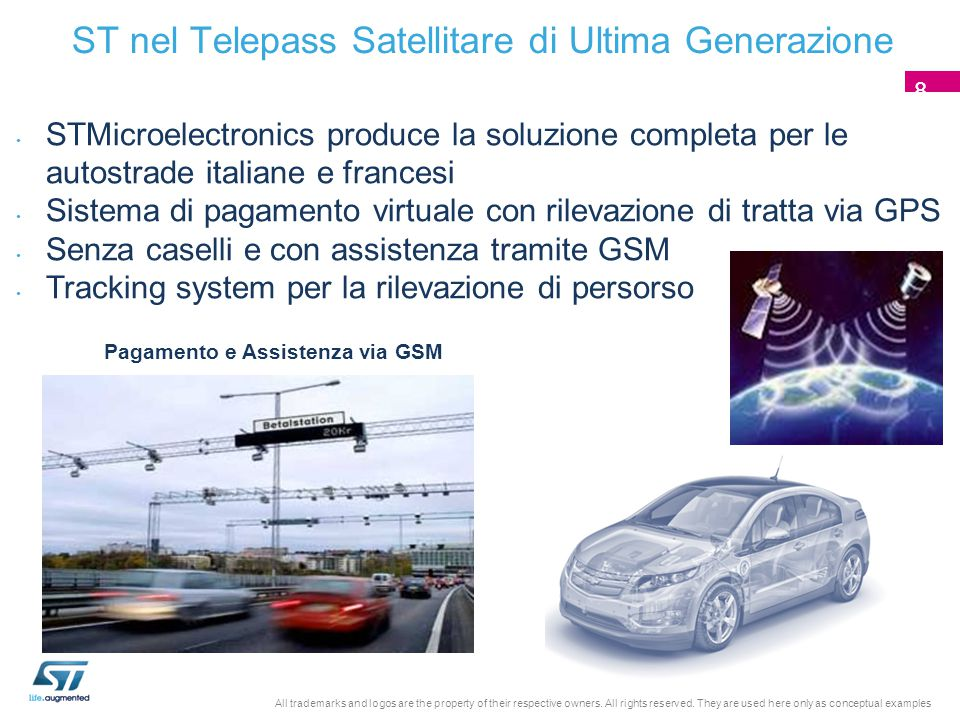 ST nel Telepass Satellitare di Ultima Generazione STMicroelectronics produce la soluzione completa per le autostrade italiane e francesi Sistema di pagamento virtuale con rilevazione di tratta via GPS Senza caselli e con assistenza tramite GSM Tracking system per la rilevazione di persorso Pagamento e Assistenza via GSM 8 All trademarks and logos are the property of their respective owners.