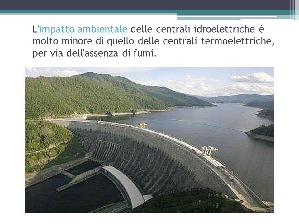 L impatto ambientale delle centrali idroelettriche è molto minore di quello delle centrali termoelettriche, per via dell assenza di fumi.impatto ambientale