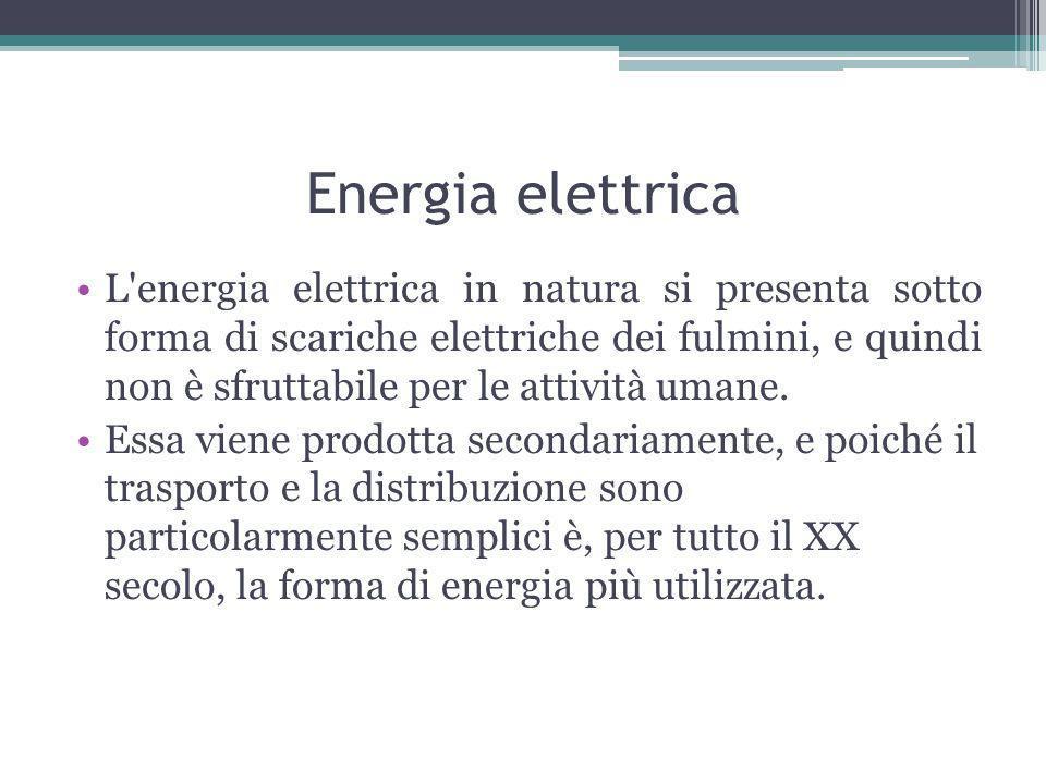 Energia elettrica L energia elettrica in natura si presenta sotto forma di scariche elettriche dei fulmini, e quindi non è sfruttabile per le attività umane.