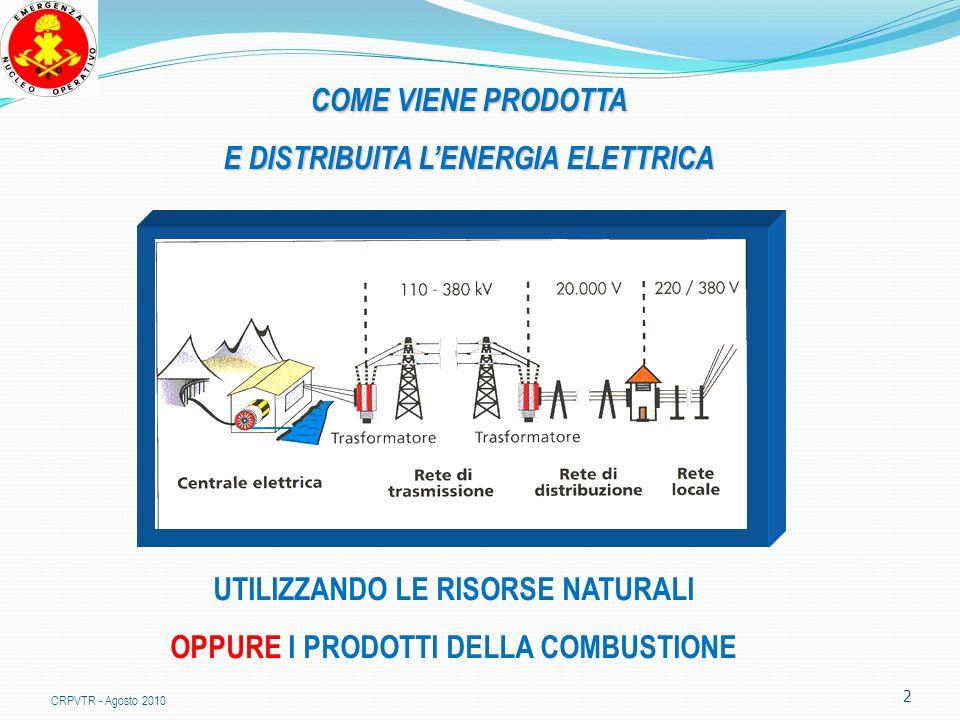 2 COME VIENE PRODOTTA E DISTRIBUITA L'ENERGIA ELETTRICA UTILIZZANDO LE RISORSE NATURALI OPPURE I PRODOTTI DELLA COMBUSTIONE CRPVTR - Agosto 2010
