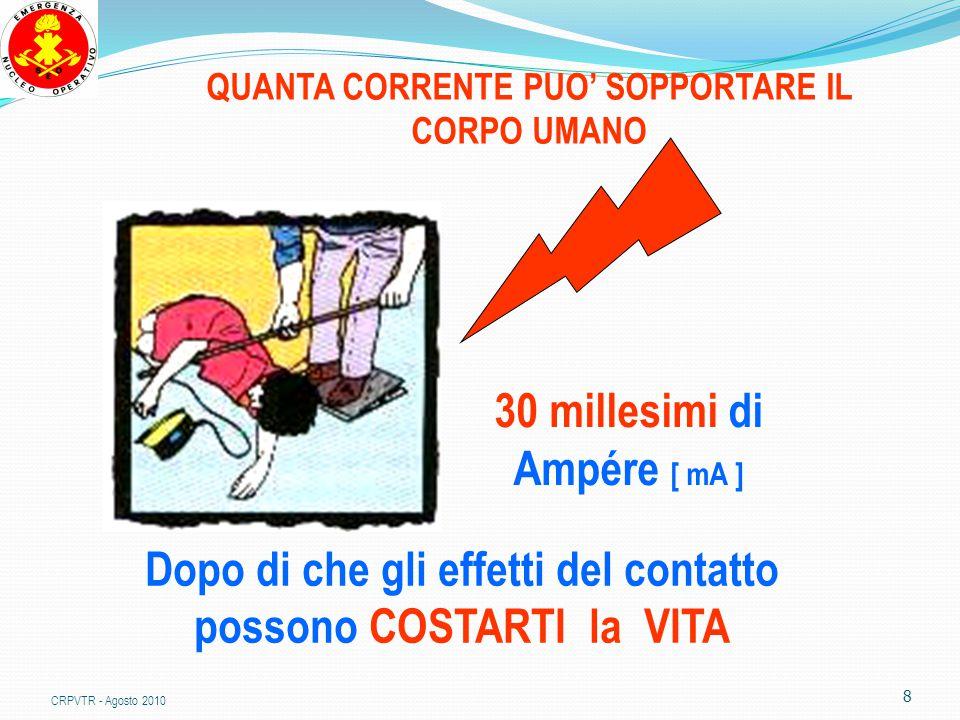 8 QUANTA CORRENTE PUO' SOPPORTARE IL CORPO UMANO 30 millesimi di Ampére [ mA ] Dopo di che gli effetti del contatto possono COSTARTI la VITA CRPVTR - Agosto 2010