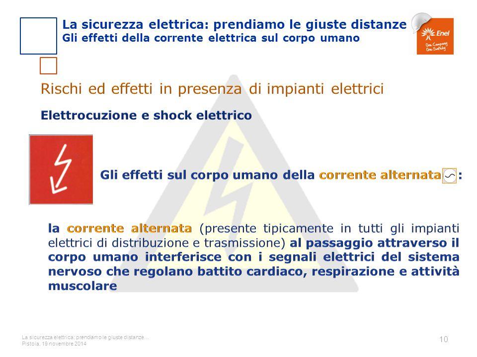La sicurezza elettrica: prendiamo le giuste distanze… Pistoia, 19 novembre 2014 10 La sicurezza elettrica: prendiamo le giuste distanze Gli effetti de
