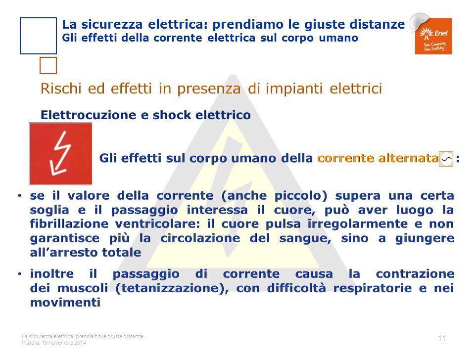 La sicurezza elettrica: prendiamo le giuste distanze… Pistoia, 19 novembre 2014 11 La sicurezza elettrica: prendiamo le giuste distanze Gli effetti de