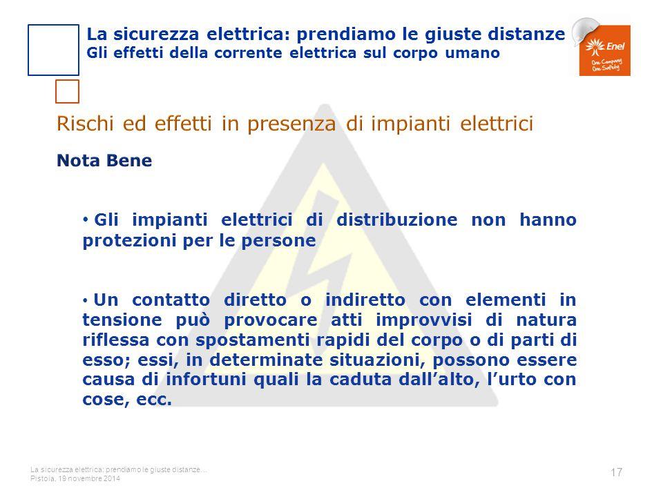 La sicurezza elettrica: prendiamo le giuste distanze… Pistoia, 19 novembre 2014 17 Gli impianti elettrici di distribuzione non hanno protezioni per le