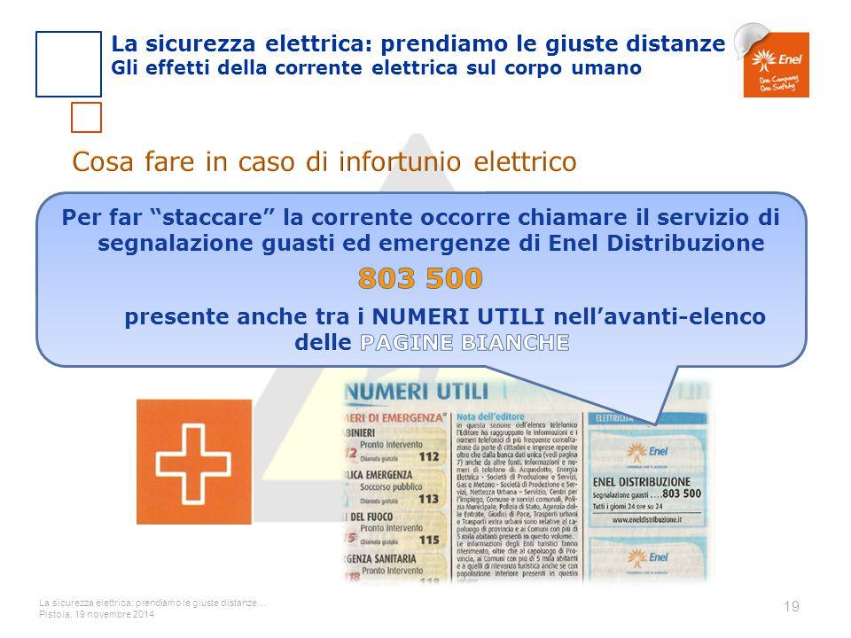 La sicurezza elettrica: prendiamo le giuste distanze… Pistoia, 19 novembre 2014 19 La sicurezza elettrica: prendiamo le giuste distanze Gli effetti de