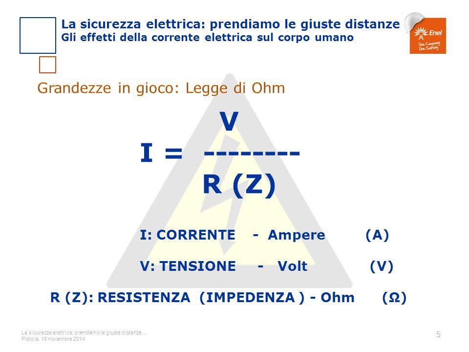 La sicurezza elettrica: prendiamo le giuste distanze… Pistoia, 19 novembre 2014 5 V I = -------- R (Z) I: CORRENTE - Ampere (A) V: TENSIONE - Volt (V)