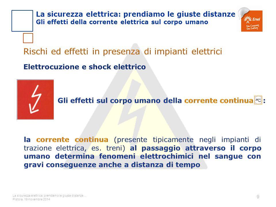 La sicurezza elettrica: prendiamo le giuste distanze… Pistoia, 19 novembre 2014 10 La sicurezza elettrica: prendiamo le giuste distanze Gli effetti della corrente elettrica sul corpo umano