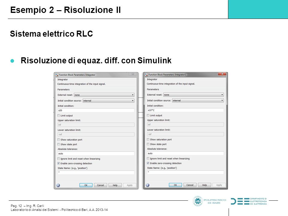 Pag. 12 – Ing. R. Carli Laboratorio di Analisi dei Sistemi - Politecnico di Bari, A.A. 2013-14 Sistema elettrico RLC Risoluzione di equaz. diff. con S