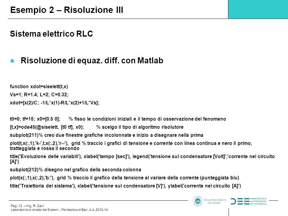 Pag. 13 – Ing. R. Carli Laboratorio di Analisi dei Sistemi - Politecnico di Bari, A.A. 2013-14 Sistema elettrico RLC Risoluzione di equaz. diff. con M