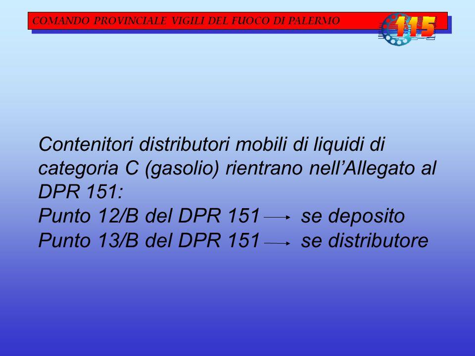 COMANDO PROVINCIALE VIGILI DEL FUOCO DI PALERMO Contenitori distributori mobili di liquidi di categoria C (gasolio) rientrano nell'Allegato al DPR 151: Punto 12/B del DPR 151 se deposito Punto 13/B del DPR 151 se distributore