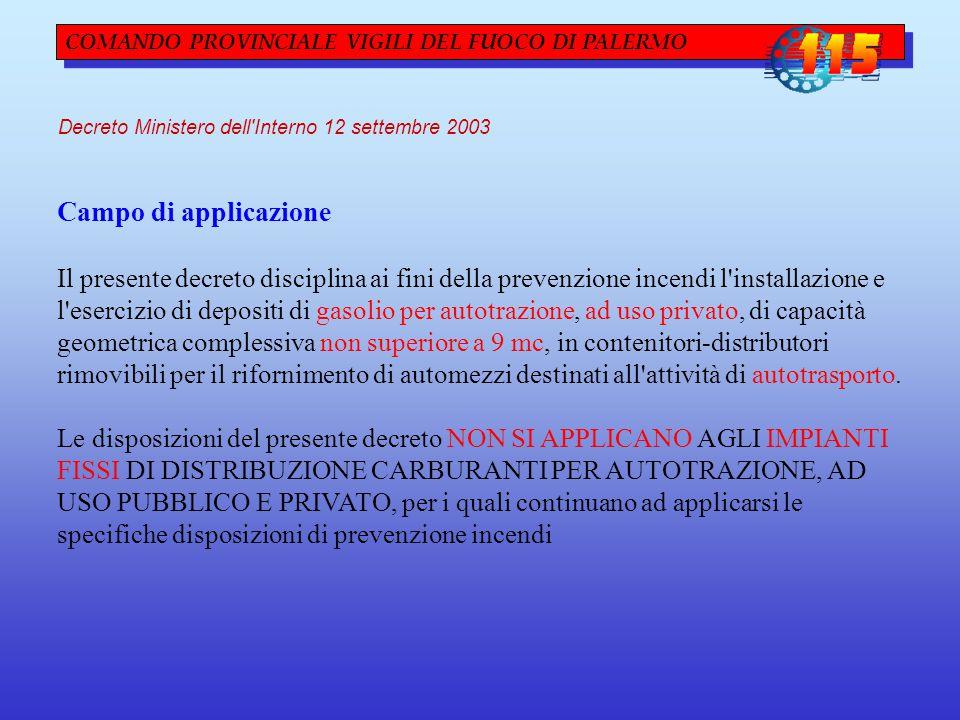 COMANDO PROVINCIALE VIGILI DEL FUOCO DI PALERMO Decreto Ministero dell'Interno 12 settembre 2003 Campo di applicazione Il presente decreto disciplina