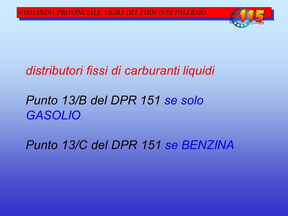 COMANDO PROVINCIALE VIGILI DEL FUOCO DI PALERMO distributori fissi di carburanti liquidi Punto 13/B del DPR 151 se solo GASOLIO Punto 13/C del DPR 151 se BENZINA