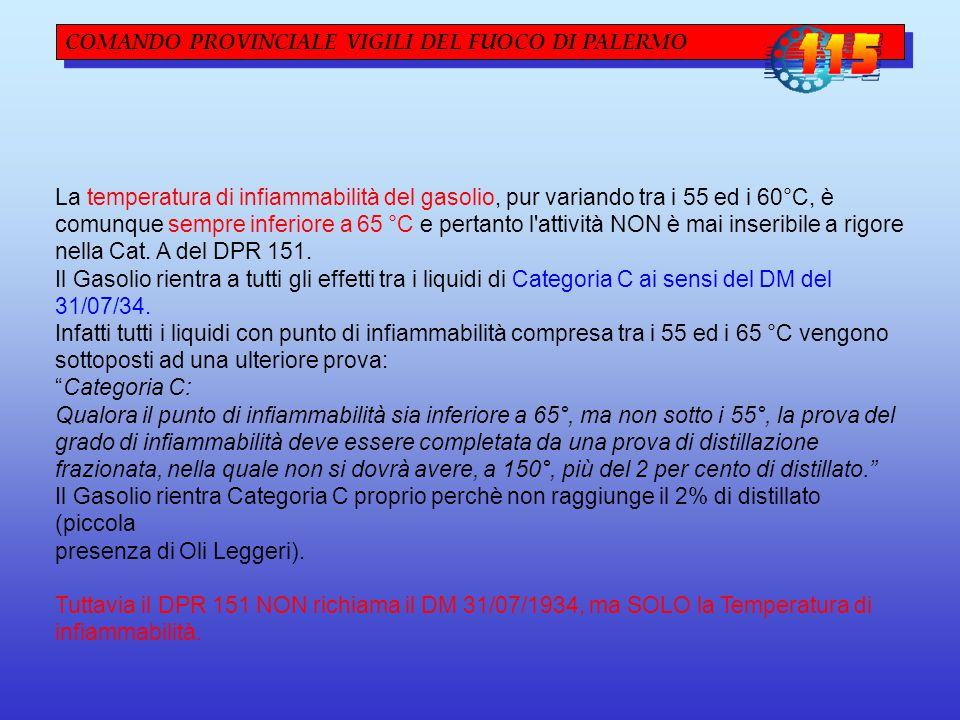 COMANDO PROVINCIALE VIGILI DEL FUOCO DI PALERMO Distributori IDROGENO D.M.