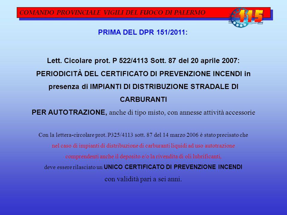 COMANDO PROVINCIALE VIGILI DEL FUOCO DI PALERMO PRIMA DEL DPR 151/2011: Lett. Cicolare prot. P 522/4113 Sott. 87 del 20 aprile 2007: PERIODICITÀ DEL C