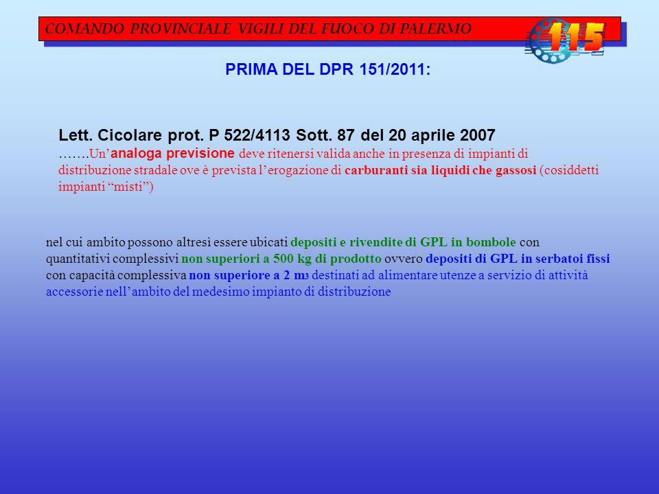 COMANDO PROVINCIALE VIGILI DEL FUOCO DI PALERMO PRIMA DEL DPR 151/2011: Lett. Cicolare prot. P 522/4113 Sott. 87 del 20 aprile 2007 …….Un' analoga pre