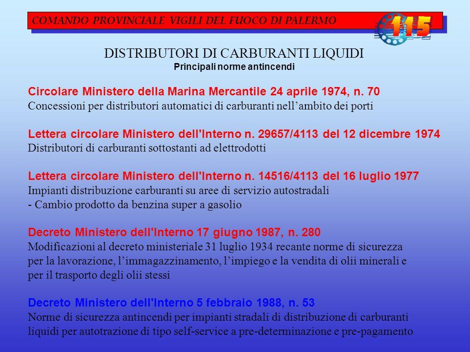 COMANDO PROVINCIALE VIGILI DEL FUOCO DI PALERMO DISTRIBUTORI DI CARBURANTI LIQUIDI Principali norme antincendi Circolare Ministero della Marina Mercantile 24 aprile 1974, n.
