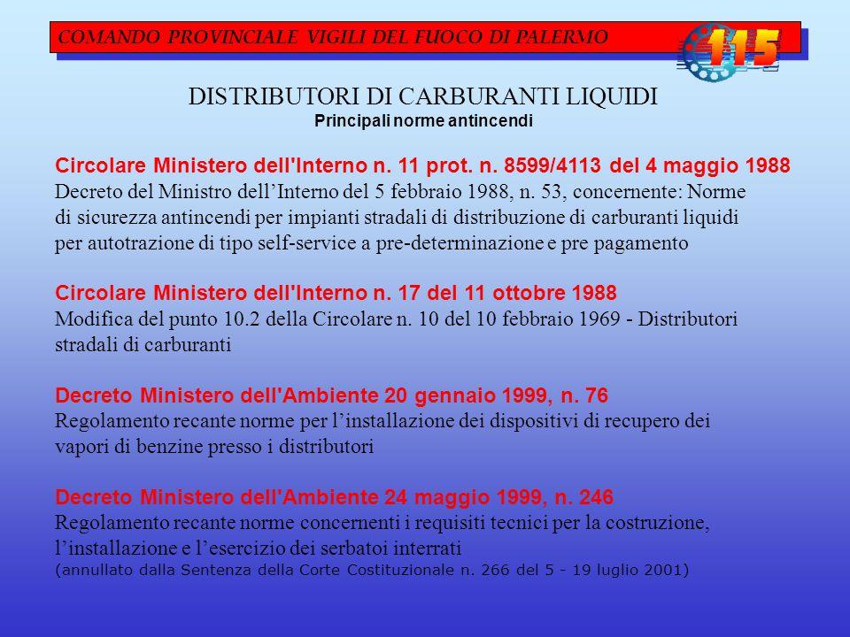 COMANDO PROVINCIALE VIGILI DEL FUOCO DI PALERMO DISTRIBUTORI DI CARBURANTI LIQUIDI Principali norme antincendi Circolare Ministero dell'Interno n. 11
