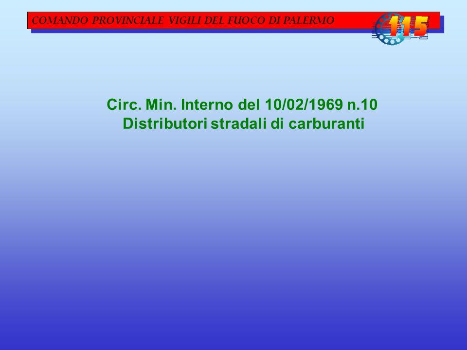 COMANDO PROVINCIALE VIGILI DEL FUOCO DI PALERMO Circ. Min. Interno del 10/02/1969 n.10 Distributori stradali di carburanti