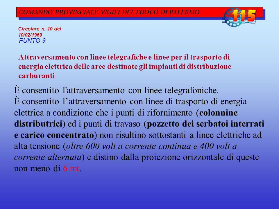 COMANDO PROVINCIALE VIGILI DEL FUOCO DI PALERMO Circolare n. 10 del 10/02/1969 PUNTO 9 Attraversamento con linee telegrafiche e linee per il trasporto