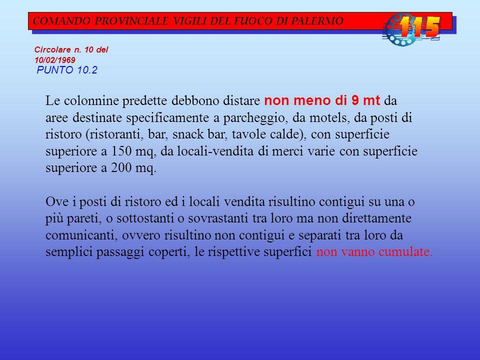 COMANDO PROVINCIALE VIGILI DEL FUOCO DI PALERMO Circolare n. 10 del 10/02/1969 PUNTO 10.2 Le colonnine predette debbono distare non meno di 9 mt da ar