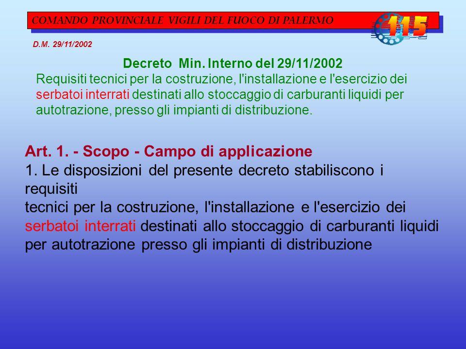 COMANDO PROVINCIALE VIGILI DEL FUOCO DI PALERMO D.M. 29/11/2002 Decreto Min. Interno del 29/11/2002 Requisiti tecnici per la costruzione, l'installazi